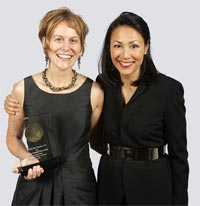 Hood, left, with NBC's Ann Curry, who presented the award